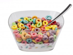 sugary cereal with milk