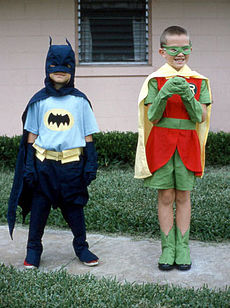 Kids in Batman and Robin costumes
